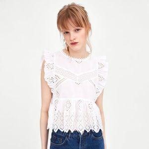NWT Zara Size S Eyelet White Embroidery Top